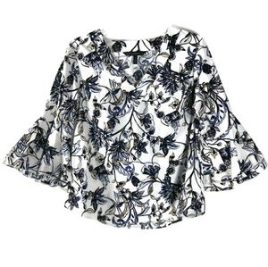 WHBM Floral Bell Sleeve 12 Top V Neck Blouse